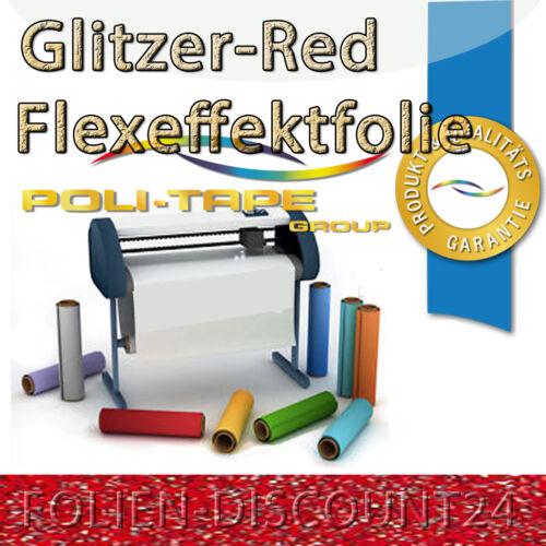 EUR 26,00//m² Flexfolie 8438 GLITTER ROT 1 Meter x 50 cm  Premium Politape