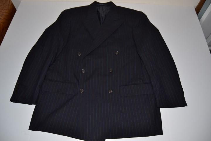 POLO RALPH LAUREN NAVY blueE PINSTRIPED DOUBLE BREASTED BLAZER MENS SIZE 42R