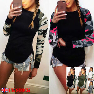 UK-Womens-Camouflage-Long-Sleeve-Casual-T-Shirt-Ladies-Tee-Tops-Blouse-Size-6-20