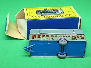 Matchbox-Lesney-No-74a-Mobile-refresco-Cantina-raro-mas-oscuro-Azul-Base