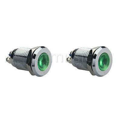 "2*12mm 1/2"" Green 12V LED Metal Indicator Pilot Dash Light Lamp"