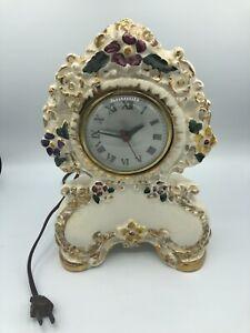 "Vintage SESSIONS Ceramic Electric Mantle Clock RUNS  11"" Floral Gold Victorian"