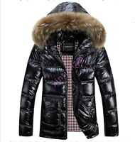 Mens Warm Winter Down coat fur collar hooded jacket warm thick outwear big size