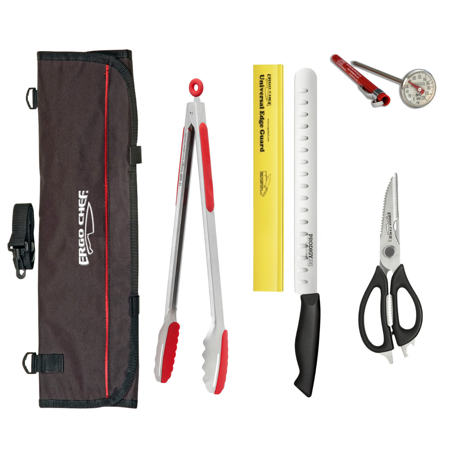 BBQ kit knife & tool set Grill tongs 12  slicer thermometer shears knife bag 6pc