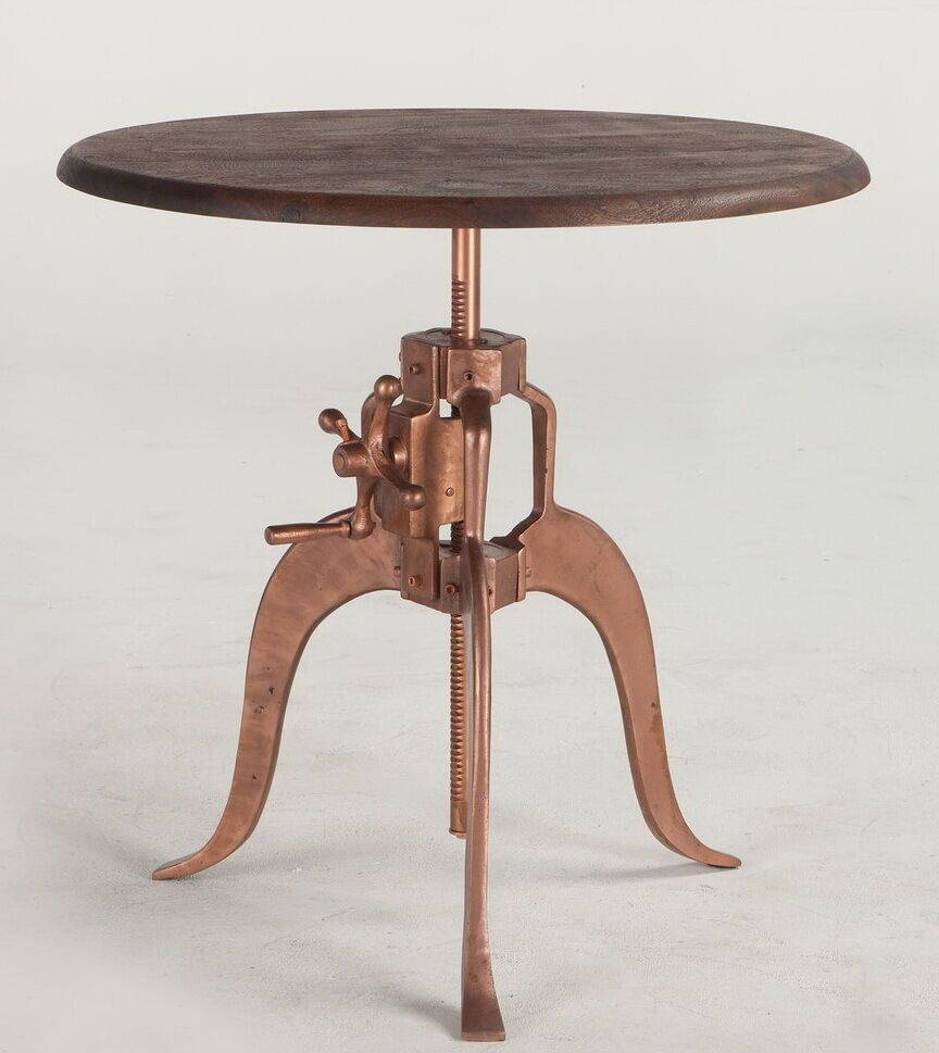 30 Quot W Crank Side Table Iron Base Copper Finish Wood Top