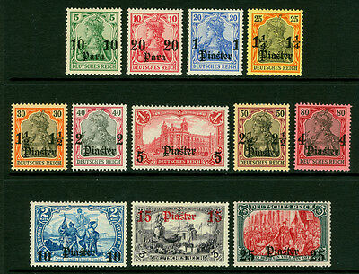German Colonies - Offices in TURKEY  1905  SURCHARGED set   Sc# 31-42  mint MH