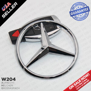 Gloss Black Luggage Lid Star Logo Trunk Rear Emblem W204 Modified C Class