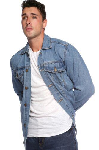 Light Wash Denim JACKET Coat Slim Button Casual Fit New Mens JM Black Mid Blue