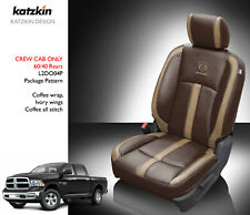 2013 18 Dodge Ram Crew Cab Katzkin Canyon Brown Leather Seat Covers Kit Logos