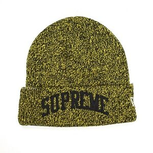 d5dab5721 Details about NWT Supreme New Era Black Yellow Speckle Arc Logo Beanie Knit  Hat FW18 AUTHENTIC