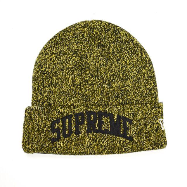 NWT Supreme New Era Black Yellow Speckle Arc Logo Beanie Knit Hat FW18  AUTHENTIC 6eebbad5092