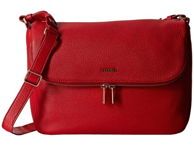 be3a51d30480a Fossil Preston Flap Real Red Pebbled Leather Zb5875622 Crossbody for sale  online