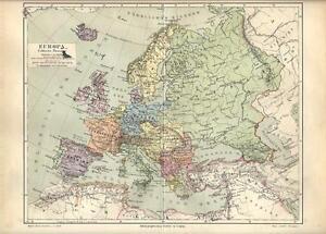 Cartina Geografica Europa Da Stampare.Carta Geografica Antica Europa Europe 1890 Old Antique Map Ebay