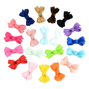 20-Pcs-Girls-Baby-Kid-Hair-Bows-Hairpin-Alligator-Ribbon-Clip-Grosgrain-New-FE