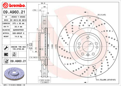 For Mercedes X166 W166 Front Left or Right Drilled PVT Disc Brake Rotor Brembo