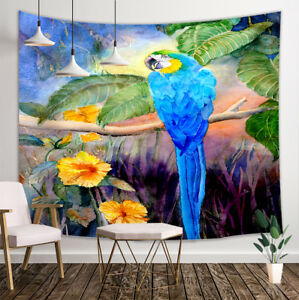Hand Drawn Parrot Tapestry Wall Hanging Decor for Home Bedroom  80x60/'/'