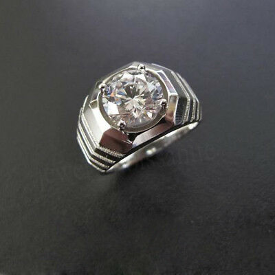 925 Sterling Silver 1.0ct 6.5mm Round Off White Moissanite Man/'s Engagement Ring