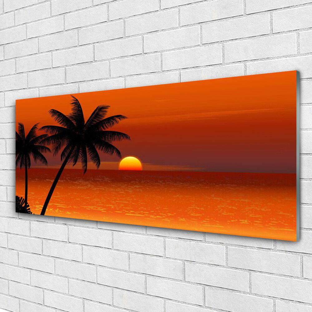 Acrylglasbilder Wandbilder Druck 125x50 Palmen Meer Sonne Landschaft