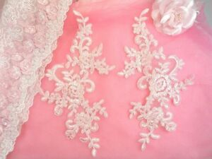 Appliques Appliques Wine Embroidered Venice Lace Floral Mirror Pair Costume  9.5  DH108