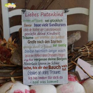 Shabby Style Liebes Patenkind Ich Holzschild Geschenk Dekoration