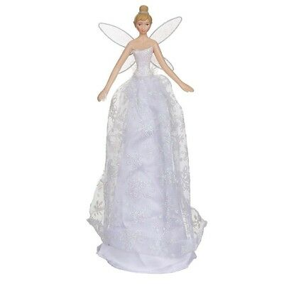 Irid White Christmas Tree Topper Fairy / Angel with Glitter and Snowflake Dress