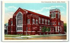 Mid-1900s First Presbyterian Church, Salina, KS Postcard