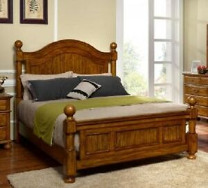 Details about Master Bedroom Furniture Queen Size 1piece Bed Pine Finish  Wooden Home Decor