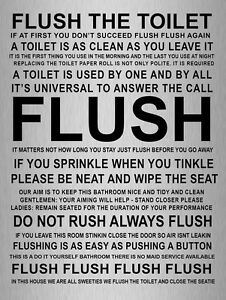 Metal Sign Metallic Humour Flush Toilet Bathroom Quote Tin