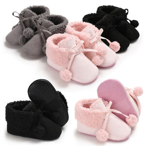 9b0d122a987e7 Image is loading Newborn-Baby-Booties-Fluffy-Ball-Bandage-Snow-Boots-