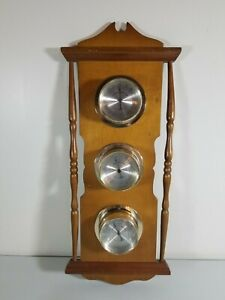 Vintage-Springfield-Thermometer-Barometer-Humidity-Weather-Station-Wall-Mount