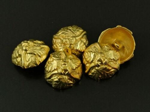 0583g 3 traumhaft schöne goldfarbene Metall Knöpfe mit Eichenlaub für Trachten