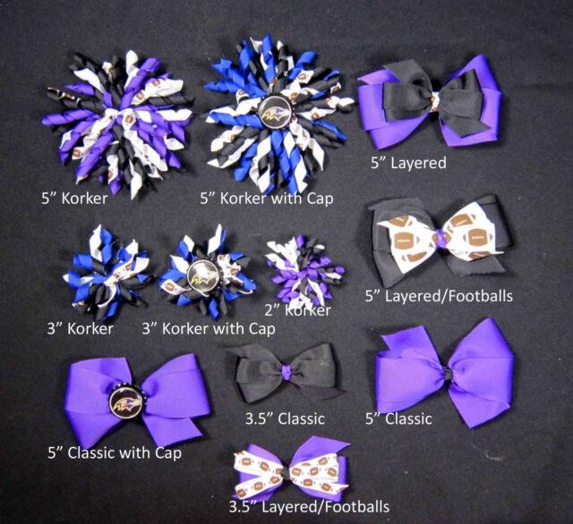 Baltimore Ravens Themed Hair Bows Korkers Classic Bottle Caps U-Pick