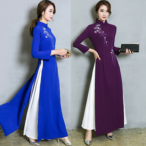 Women-039-s-Retro-Formal-Long-Sleeve-Cheongsam-Party-Cocktail-Gown-Maxi-Dress