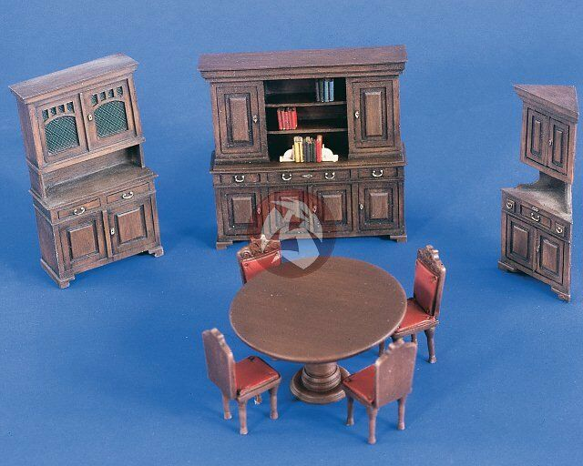 Verlinden 1 35 Dining Room Furniture (Table w 4 Chairs, Hutch & 2 Cabinets) 2230