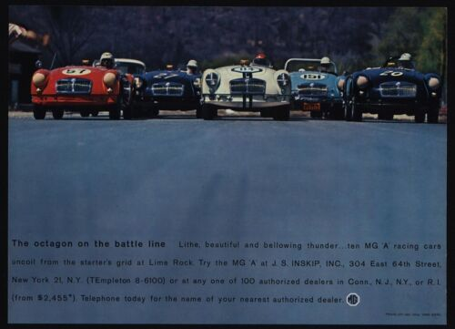 "1960 MG /""A/"" A Convertible Race Cars At Lime Rock VINTAGE AD Octagon Battle"