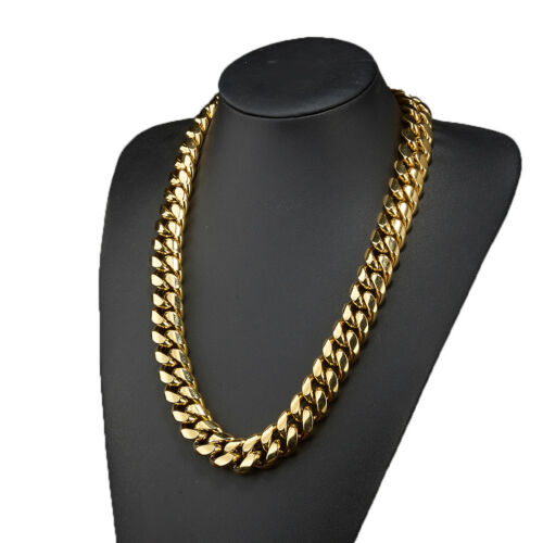 8//10//12//14//16//18mm Men Boy HipHop 18K Gold Stainless Steel Miami Choker Necklace