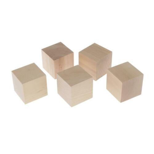 5Pcs 6 Sided Dice Wood Blank Dices Cube Handicrafts and DIY for Art Carved