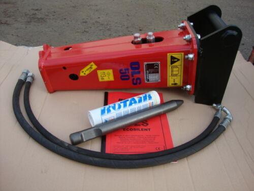 Bagger 0,7-1,2 to Neuer Hydraulikhammer Rotair OLS 50 kg MS01 Aufnahme