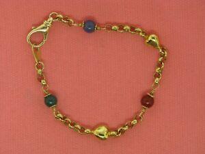 14K-Yellow-Gold-Onyx-and-Carnelian-Beaded-Bracelet-7-25-034-Estate-Jewelry