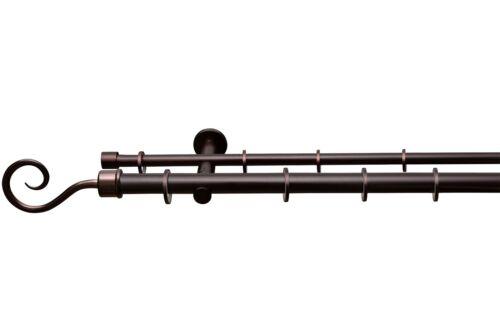 Gardinenstange auf Maß Ø 25mm Kringel 2-lauf verschiedene Farben mit Ringen
