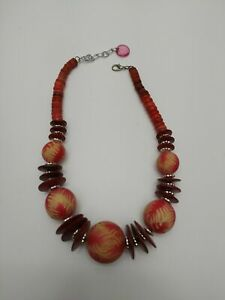 Chunky-Red-Painted-Wooden-Beaded-Necklace-7-034-Drop-Pre-owned