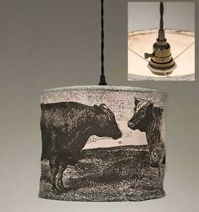 Country new canvas hanging COWS pendant light / plug in hang light / nice