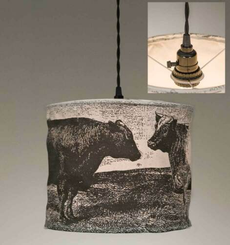 plug in hang light Country new canvas hanging COWS pendant light