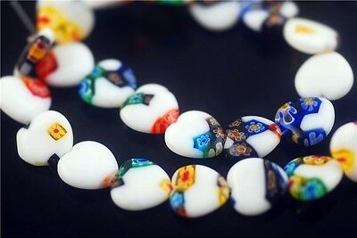 10pcs New Colorized Glass Heart White Millefiori Spacer Beads Craft Finding 12mm