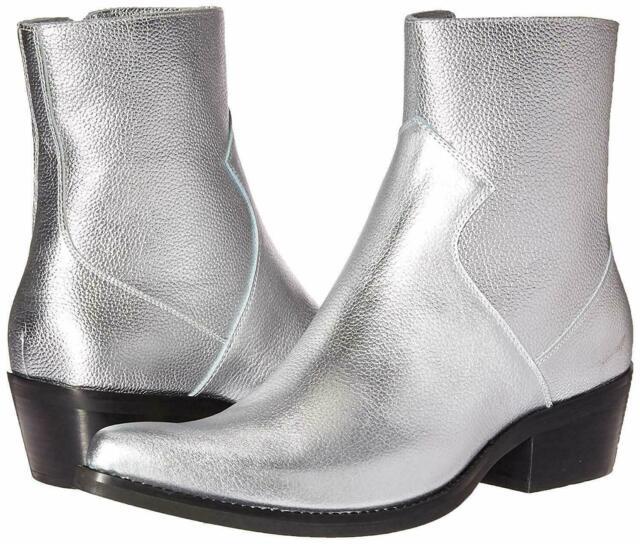 Calvin Klein Mens Alden Silver Leather