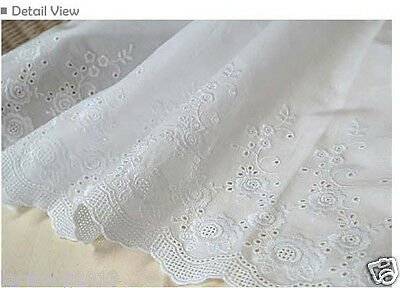 """1y Broderie Anglaise Embroidery cotton lace  White 23/"""" yh1318L laceking 59cm"""
