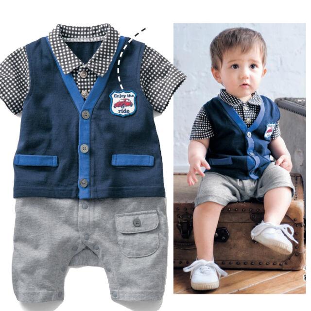 Kids Baby Boys Outfits Romper Suit Plaid Gentlemen Party Clothes 6M-2Y LU42