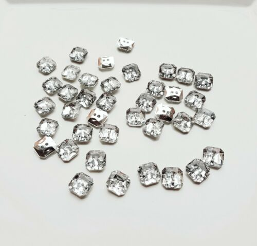 50 SILVER-CLEAR SQUARE SPARKLY  DIAMANTE EFFECT BUTTONS CRAFT SCRAPBOOKING