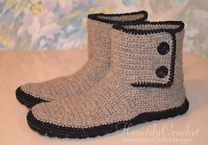 Handmade Mens Crochet Slippers Leather Sole Slipper Boots Knit