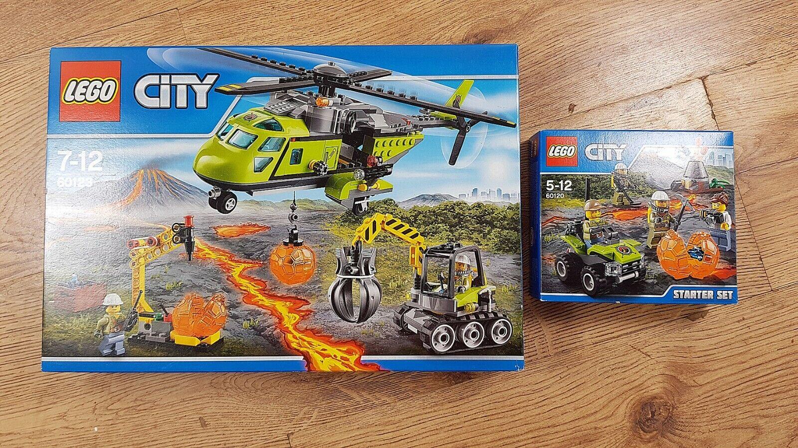 LEGO città 60123  VULCANO Supply Elicottero & 60120 VULCANO estrellater Set   Nuovo  l'intera rete più bassa